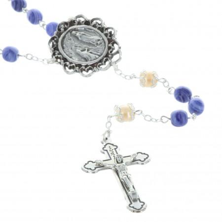 Rosario acqua di Lourdes perline vetro e crociera Apparizione di Lourdes