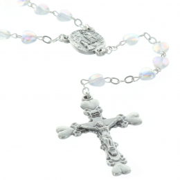 Glass rosary heart shaped beads and Lourdes Apparition centerpiece