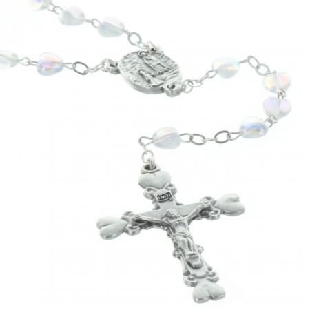 Rosario vetro perline cuore e crociera Apparizione di Lourdes