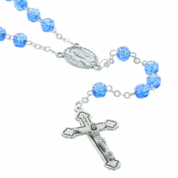 Resin rosary rose-shaped beads and Lourdes Apparition centerpiece
