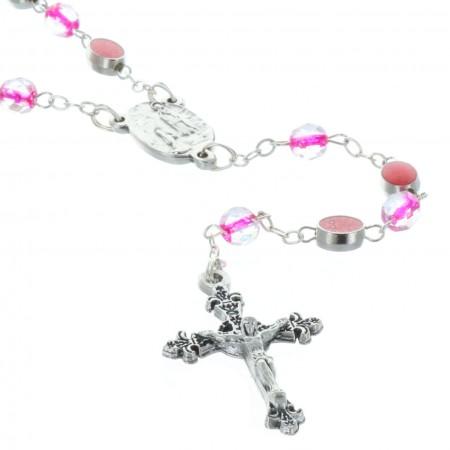 Rosario vetro e perline con la Madonna Miracolosa