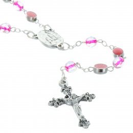 Glass rosary and Miraculous Lady faceted beads