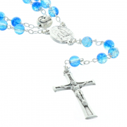 Glass rosary, translucent beads and Lourdes Apparition paters