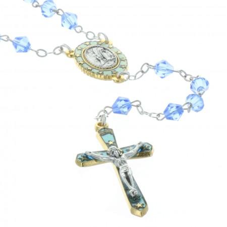 Chapelet de Lourdes doré en cristal véritable et coeur Apparition de Lourdes