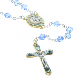 Genuine crystal rosary Lourdes Apparition centerpiece
