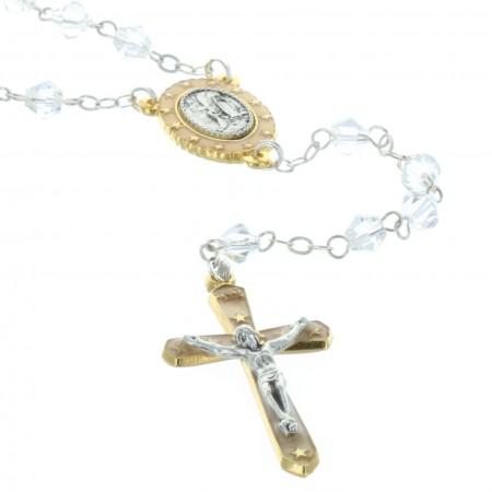Genuine crystal rosary Lourdes Apparition centerpiece