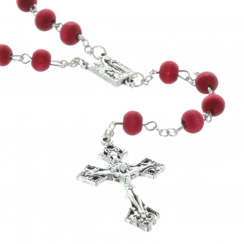 Rose-scented rosary in  box with a prayer