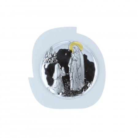 Quadretto religioso Apparizione di Lourdes argentata 5 x 5,5 cm