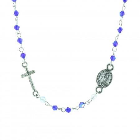 Collier chapelet grains colorés et coeur Apparition de Lourdes