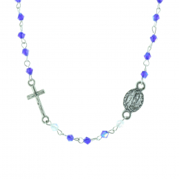 Rosary necklace colour beads and Lourdes Apparition centerpiece