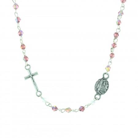 Collana rosario perline colorate e crociera Apparizione di Lourdes