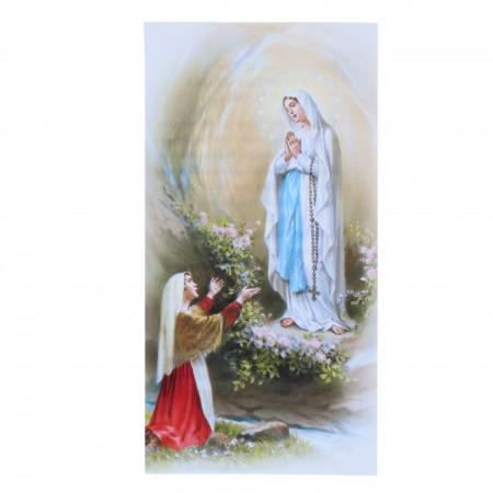 Lot de 10 images religieuses de l'Apparition de Lourdes et prières