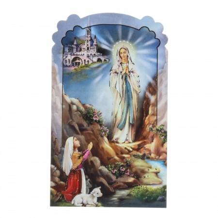 Lot de 10 images religieuses en papier rigide de l'Apparition de Lourdes et prières