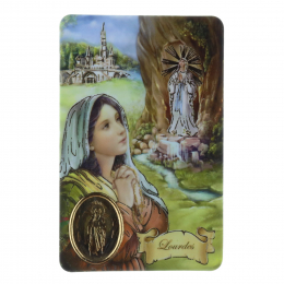 Batch of 5 plasticized prayer cards, Lourdes Apparition golden details, prayers and medallion