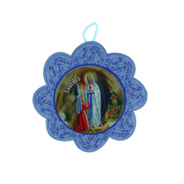 Cradle cross medallion and Lourdes Apparition flower 11 x 17 cm