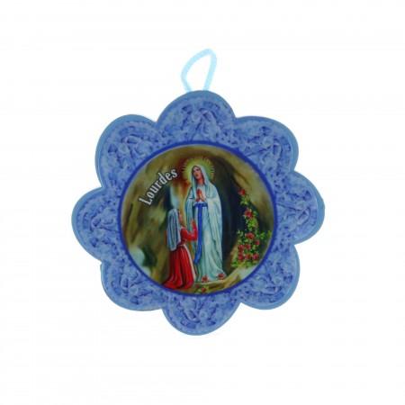 Sopraculla croce e fiore Apparizione Lourdes 11 x 17 cm