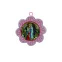 Cradle cross medallion and Lourdes Apparition flower 11 x 17 cm