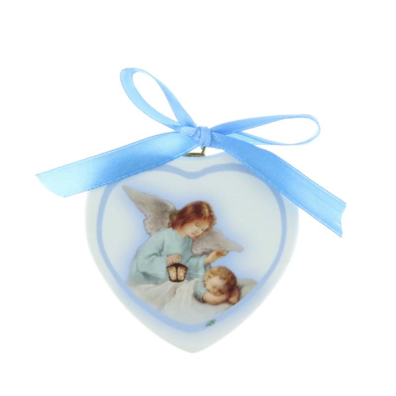 Heart-shaped cradle medallion Guardian Angel 12 x 17 cm