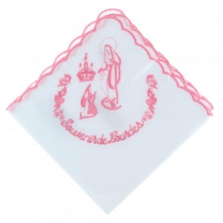 Fazzoletto cotone ricamato con l'Apparizione di Lourdes e souvenir di Lourdes