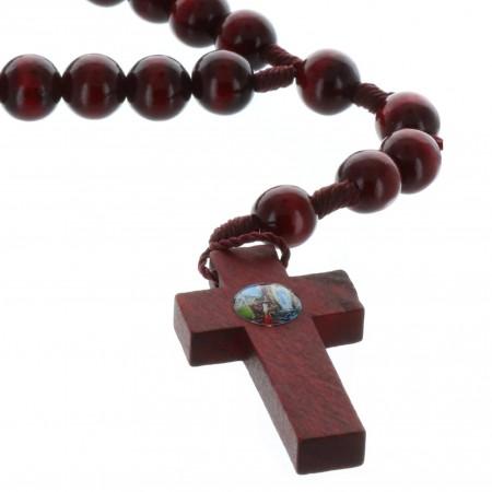 Rosario corda perline legno verniciato 8 mm e Apparizione di Lourdes