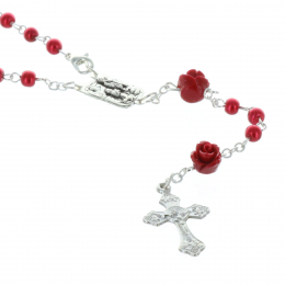 Glass rosary iridescent beads and rose-shaped paters