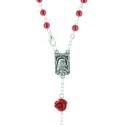Chapelet de Lourdes en verre grains irisés et paters en forme de rose