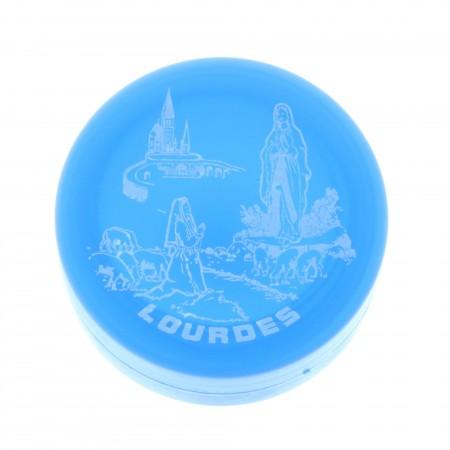 Gobelet pliant bleu en plastique avec l'Apparition de Lourdes