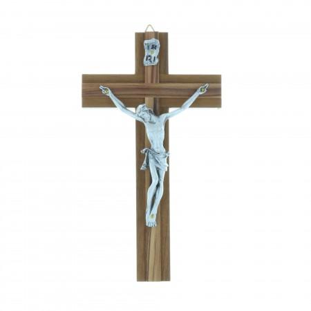 Crucifix bois superposé et Christ argenté 16,5 cm
