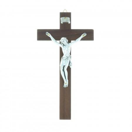 Crucifix bois foncé et Christ argenté 16 cm
