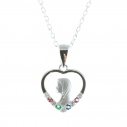 Silver jewellery, Our Lady chain and medallion colour strass