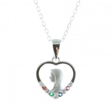 Parure Argent, chaîne et médaille Vierge Marie strass colorés