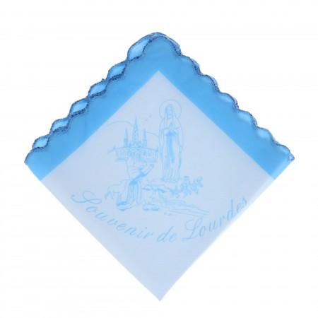 Fazzoletto cotone stampato dell'Apparizione di Lourdes e souvenir di Lourdes