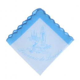 Lourdes Apparition and souvenir from Lourdes Fabric handkerchief