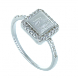 Silver ring and square strass Lourdes Apparition