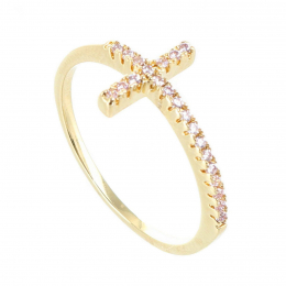 Gold-plated ring and strass cross