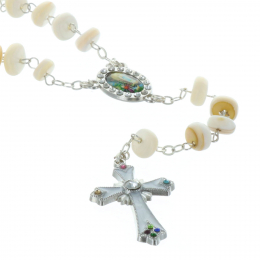 Genuine mother-of-pearl rosary and Lourdes Apparition strass centerpiece et coeur strass Apparition de Lourdes