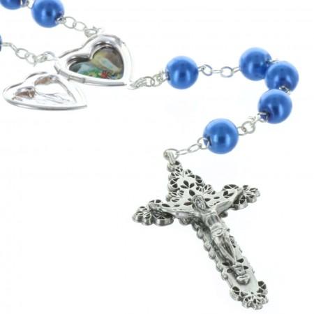 Chapelet de Lourdes en verre, grains colorés et coeur ouvrant de Lourdes