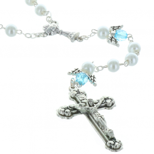 Communion rosary with angel wings and a central chalice