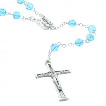 Chapelet de Lourdes en cristal véritable, coeur Apparition de Lourdes