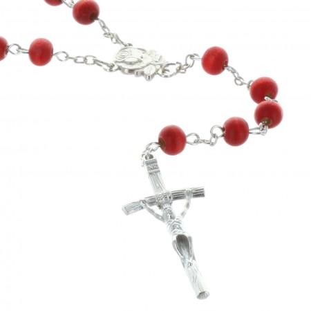 Rosario profumato di rosa e scatola con l'immagine dell'Apparizione di Lourdes