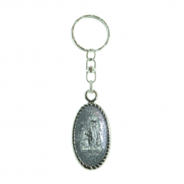 Oval sequined key-ring and Lourdes Apparition