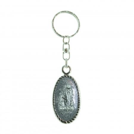 Porte-clés ovale pailleté et Apparition de Lourdes