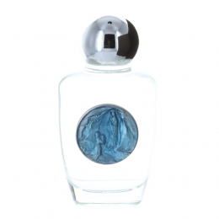Flacone vetro 30ml con acqua di Lourdes e medaglia azzurra Apparizione di Lourdes