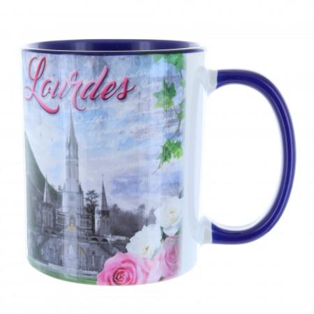 Mug de Lourdes intérieur coloré en céramique