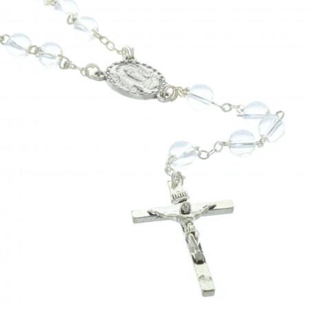Chapelet verre grains translucides et coeur Apparition de Lourdes