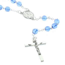 Glass rosary translucent beads and Lourdes Apparition centerpiece