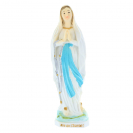 Our Lady of Lourdes colour resin statue 8 cm