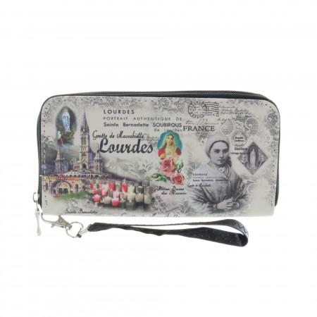 Porte monnaie rectangle à zip et Sainte Bernadette