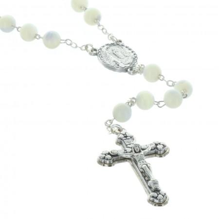 Chapelet nacre véritable grains rond et coeur Apparition de Lourdes