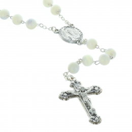 Genuine mother-of-pearl rosary round beads and Lourdes Apparition centerpiece